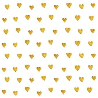 Teste padrão dourado do brilho do coração sem emenda.