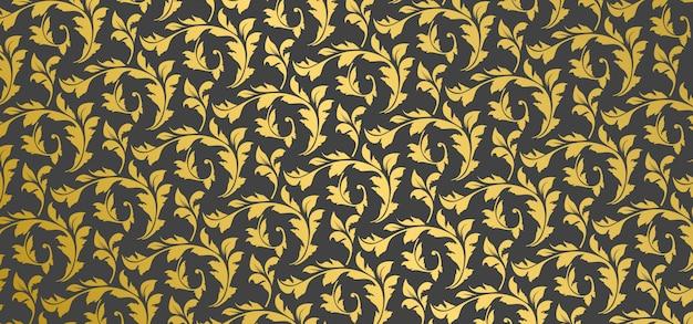 Teste padrão dourado fundo floral ornamental