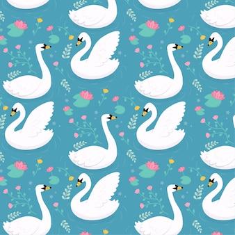 Teste padrão elegante com cisnes