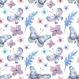 Teste padrão elegante de flores e borboletas aquarela