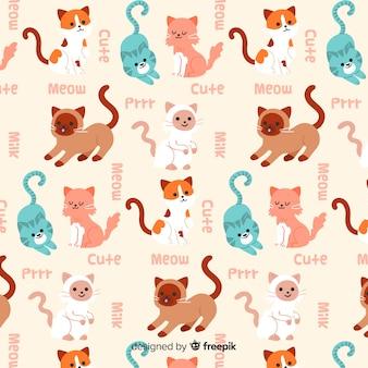 Teste padrão engraçado dos gatos e das palavras do doodle