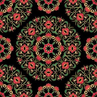 Teste padrão escuro elegante com mandalas de flores.