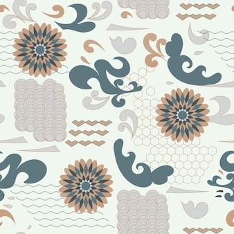Teste padrão floral abstrato sem costura, ondas de flores em estilo vintage japonês, formas de elementos geométricos