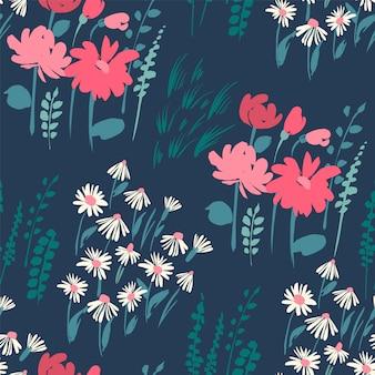 Teste padrão floral abstrato sem emenda.