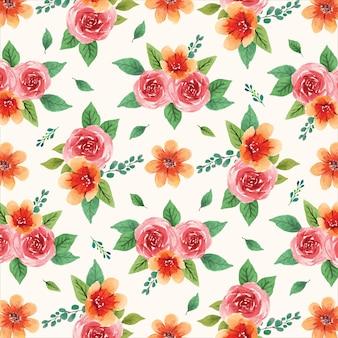 Teste padrão floral aquarela sem costura com flores vermelhas e laranja