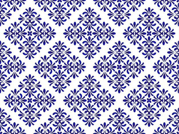 Teste padrão floral azul cerâmico
