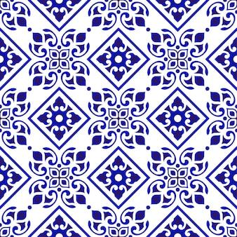 Teste padrão floral azul