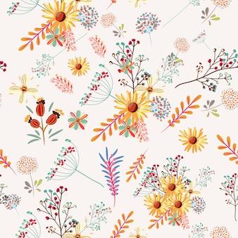 Teste padrão floral bonito com flores pastel coloridas