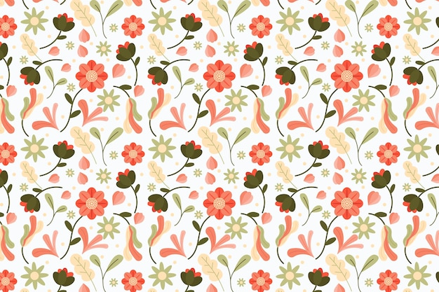Teste padrão floral com folhas