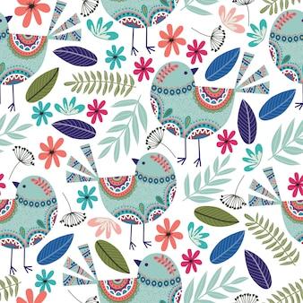 Teste padrão floral com pássaros, flores e folhas em fundo escuro