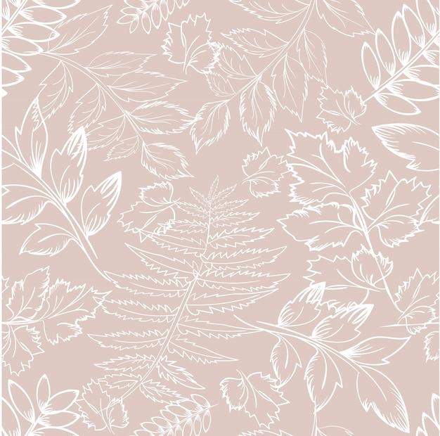Teste padrão floral com ramos de contorno de folhas em bege
