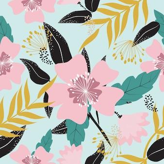 Teste padrão floral da mola tropical colorida sem emenda