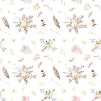 Teste padrão floral da tenda da aguarela