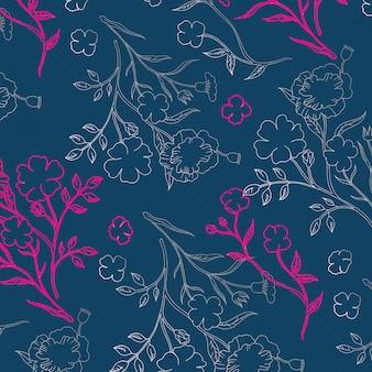 Teste padrão floral de contorno sem emenda