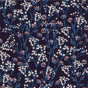 Teste padrão floral desenhada mão na flor pequena. padrão sem emenda