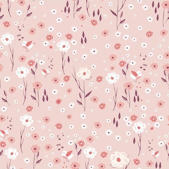 Teste padrão floral desenhado à mão com flores, folhas e pássaros fundo floral suave de primavera