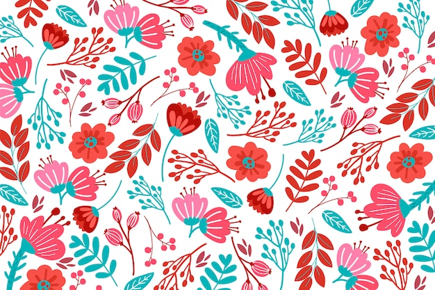 Teste padrão floral desenhado mão em tons vermelhos