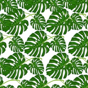 Teste padrão floral do verão do vetor sem emenda bonito com folhas de palmeira tropicais.