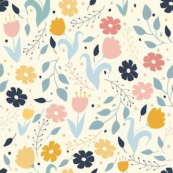 Teste padrão floral, doodle flores em cores pastel. ilustração vetorial