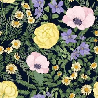 Teste padrão floral elegante com flores desabrochando selvagens e plantas com flores sobre fundo preto.