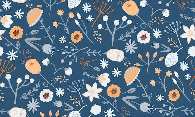 Teste padrão floral elegante com uma pequena flor