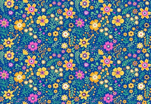Teste padrão floral elegante em pequenas flores coloridas. estilo liberty. fundo sem costura floral para estampas de moda. impressão ditsy. textura perfeita. buquê de primavera.