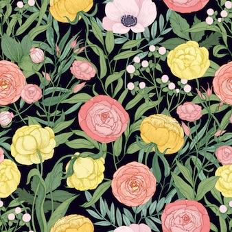 Teste padrão floral elegante sem costura com flores florísticas selvagens desabrochando e ervas de florescência do prado em fundo preto.