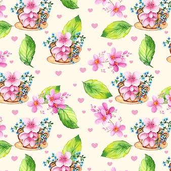 Teste padrão floral em aquarela