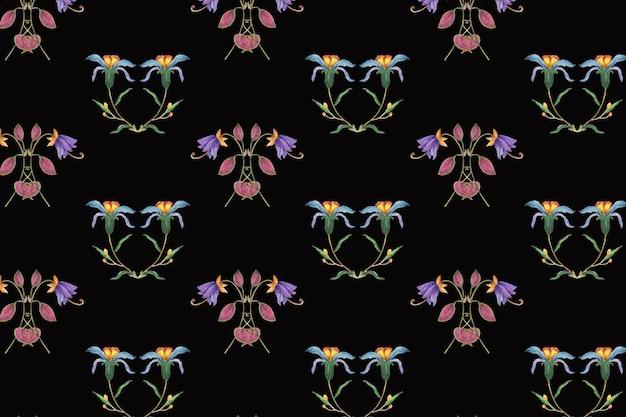 Teste padrão floral em fundo preto