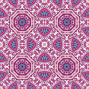 Teste padrão floral étnico em azulejos. abstrato geométrico mosaico vintage padrão sem emenda ornamental.