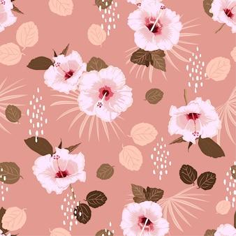Teste padrão floral exótico do hibiscus branco sem emenda pastel do vetor,