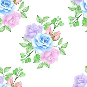 Teste padrão floral floral bonito da aguarela dos marinhos