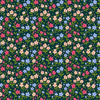 Teste padrão floral fofo na flor pequena. impressão servida. textura vector sem emenda