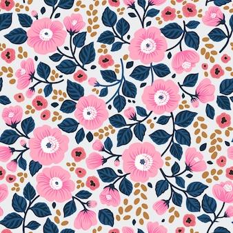 Teste padrão floral fofo nas flores rosas. impressão moderna. de fundo vector sem emenda.