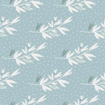 Teste padrão floral inverno sem costura com galhos brancos.