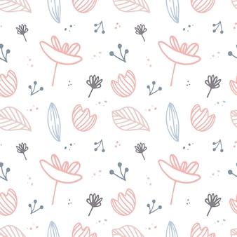Teste padrão floral minimalista. plantas abstratas. fundo universal para redes sociais. paleta de cores delicadas. impressão em tecido, papel digital, scrapbooking. ilustração vetorial desenhada à mão