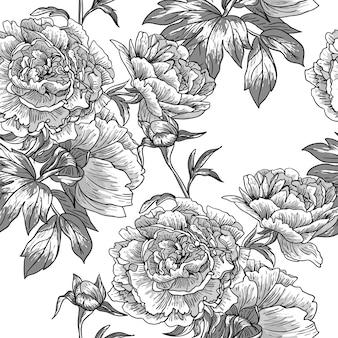 Teste padrão floral monocromático