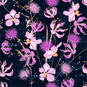 Teste padrão floral na moda em muitos tipos de flores. motivos botânicos tropicais espalhados aleatoriamente.