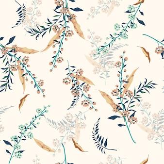 Teste padrão floral na moda em muitos tipos de flores