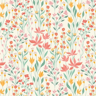 Teste padrão floral pequeno das flores e das folhas