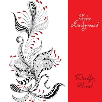 Teste padrão floral preto, vermelho e branco de vetor