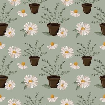 Teste padrão floral sem costura com camomila e eucalipto.