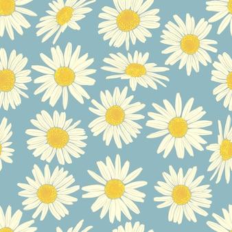 Teste padrão floral sem costura com camomila.