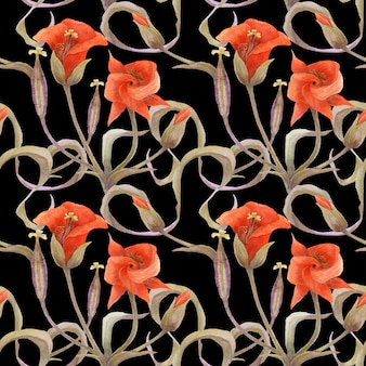Teste padrão floral sem costura com chalocortus laranja