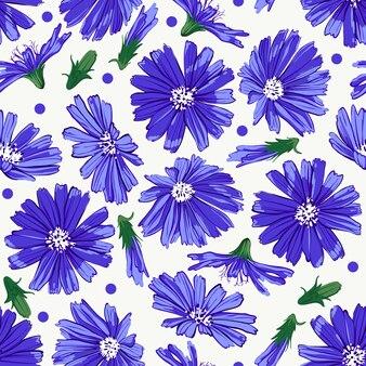 Teste padrão floral sem costura com chicória.