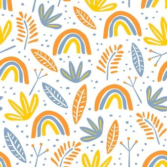Teste padrão floral sem costura com desenho infantil escandinavo colorido para impressão têxtil