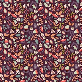 Teste padrão floral sem costura com doodle flores e folhas