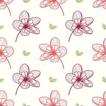 Teste padrão floral sem costura com elementos de folha mão estilo étnico desenhado.