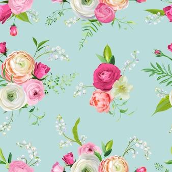 Teste padrão floral sem costura com flores cor de rosa e lírio. fundo botânico para tecido têxtil, papel de parede, papel de embrulho e decoração. ilustração vetorial