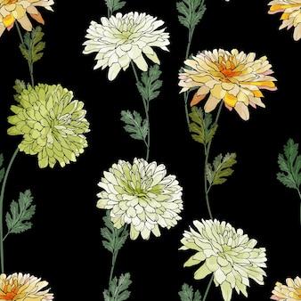 Teste padrão floral sem costura com flores crisântemos.